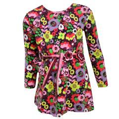 Mädchen Kleid Langarmkleid auffälliges Blumenmotiv, bunt