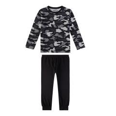 Sanetta Jungen Schlafanzug Langarm  Camouflage Muster auf Oberteil, schwarz/grau - 244529