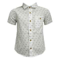Jungenhemd Hemd kurzarm festlich Tiere, weiß - 1157