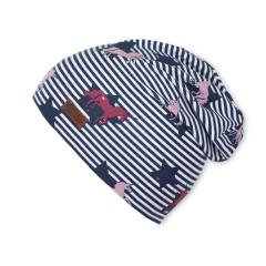 Slouch-Beanie Mütze Mädchen Streifen und Einhörner, marine - 1421844