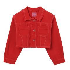 Mädchen Teens kurze Jacke gefranst Jeansjacke, rot - 6469