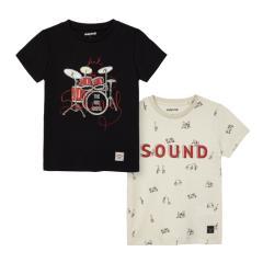 """Jungen Doppelpack 2er- Set kurzarm T-Shirts """"sound"""", schwarz/beige - 3050s"""