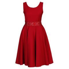 Festliches Kleid aus Krepp mit durchsichtiger Spitzen-Verarbeitung an der Taille, Mädchen -1374600rot