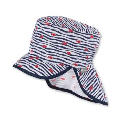 """Jungen Kinder Baby Mütze LSF UV-Schutz 50+ Sommermütze Schirmmütze mit Nackenschutz """"Fische"""", marineblau – 1612040"""