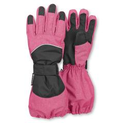 Mädchen Stulpen-Fingerhandschuhe gefüttert wasserdicht mit Klett, pink - 4321820