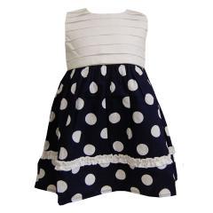 Mädchenkleid Sommerkleid ärmellos, weiß-blau