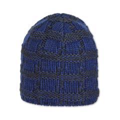 Kinder Jungen Wintermütze Strickmütze aus Baumwollflecce kariert, blau -  4722104