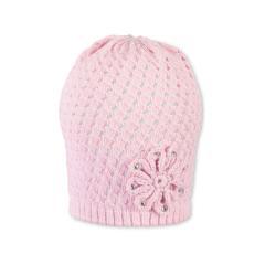 Mädchen Mütze, Strickmütze, rosa Blume - 1711911