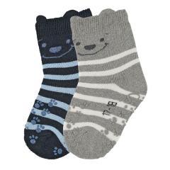 """Baby Jungen Krabbel-Söckchen gefüttert 2er Pack Anti-Rutsch-Socken Strümpfe mit rutschfester ABS-Sohle """"Teddy"""", marineblau grau - 8111920"""