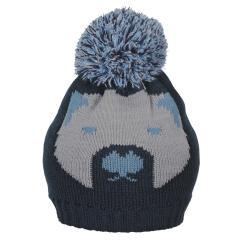 Jungen Baby Strickmütze Eisbär Wintermütze mit Microfleece-Futter und Bommel, marineblau  - 4701925