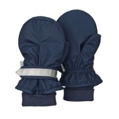 Jungen Fäustlinge Handschuhe wasserabweisend mit reflektierendem Klettverschluss einfarbig, marine - 4301540