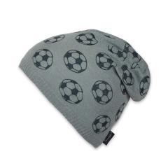 Slouch-Beanie Mütze Jungen Strickmütze Fußball, grau - 1721814