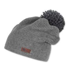 Jungen Wintermütze Beanie aus Cord mit Bommel und Logobadge gestreift, rauchgrau - 4612103