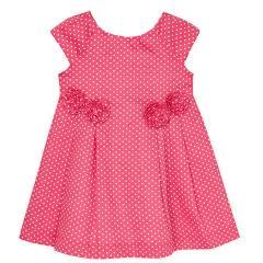 Mädchen festliches Kleid kurzarm gepunktet, pink - 3946