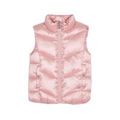 Mädchen Kinder Weste Winterweste gefüttert mit höhen Kragen, Reißverschluss und Jackentaschen gemustert, rosa – 4379