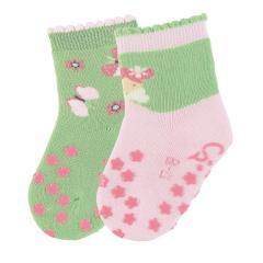 "Mädchen 2 Paar ABS-Krabbelsöckchen gefüttert Anti-Rutsch-Socken Doppelpack ""Fee/Schmetterlinge"", rosa/hellgrün - 8012023"