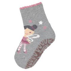 """Baby Mädchen Anti-Rutsch-Socken Glitzer Fliesen Flitzer Air Strümpfe mit rutschfester gefütterter ABS-Sohle, silbergrau """"Fee"""" - 8131912"""