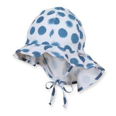 Jungen Sommermütze zum Binden mit Nackenschutz, Flapper UV-Schutz 50+, weiß blau- 1411914