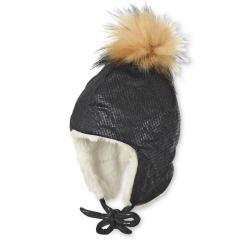 Mädchen Wintermütze gefüttert Inkamütze zum Binden, glänzend mit Kunstpelz-Bommel, grau - 4411929