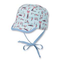 Baby Jungen Wende-Schirmmütze zum Binden mit Ohrenschutz Fahrzeuge, mint - 1601828