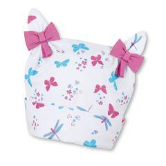 """Mädchen Baby Sommermütze Knotenmütze LSF UV-Schutz 50+ Baumwollbeanie """"Schmetterlinge/Schleifen"""", weiß – 1402070"""