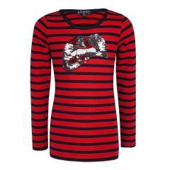 Mädchen Langarmshirt Shirt mit Pailetten gestreift, rot - 5210