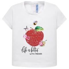 Mayoral Mädchen T-Shirt kurzarm mit süßem Motiv, weiß - 1.014w