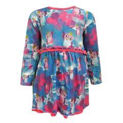 Baby Mädchen Kleid langarm Prinzessinen Eulen, blau-pink