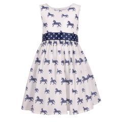 """Mädchen Sommerkleid Festmode festliches Kleid kurzarm """"Pferde"""" ,weiß-blau -911355"""