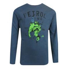 """Jungen T-Shirt Langarmshirt Druck """"grüner Stier"""", blau - B-FW18-TLR663"""