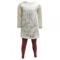 Kids Mädchen Zweiteiler langarm Shirt und Leggings, rot-rosa - 4704