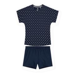 """Sanetta Mädchen kurzer Schlafanzug 100% Baumwolle """"gepunktet"""", dunkelblau/weiß – 245040"""