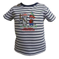 Salt&Pepper Jungen T-shirt gestreift kurzarm mit Piraten-Motiv, dunkelblau – 93212136