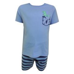 Jungen Schlafanzug Kurzarm Dinosaurier, hellblau  - 231957