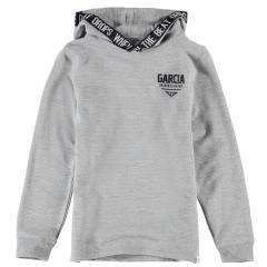 Garcia Jungen T-Shirt Langarmshirt Sweatshirt mit Kapuze und Logo, hellgrau mel. - I93403 66