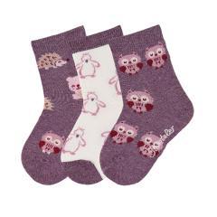 """Mädchen Söckchen Baumwoll-Socken im 3er Pack, lila mel. """"Tiermotive"""" - 8421925"""