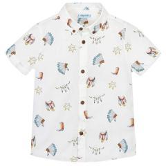 Mayoral festliches kurzarm Jungenhemd Muster Indianer, weiß - 3.133w