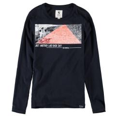 Garcia Jungen T-Shirt Langarmshirt mit Print, dunkelblau - G93404 292