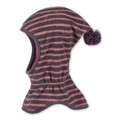Mädchen Schalmütze Wintermütze Fleece, gestreift mit Bommel, brombeer - 4521745