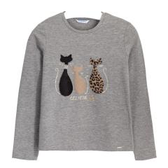 Mädchen Shirt Langarmshirt Rundkragen Katzen mitFellapplikationen, grau-meliert - 7.071