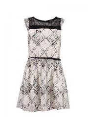Schickes Kleid mit modischem Muster, weiß - A72484