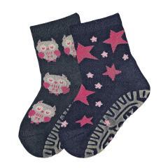 """Baby Mädchen 2er Pack Anti-Rutsch-Socken Fliesen Flitzer Air mit rutschfester gefütterter ABS-Sohle, marineblau """"Eule"""" - 8131926"""