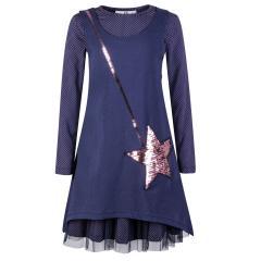 """Mädchen Kleid Winterkleid langarm Tasche """"Paillettenstern"""", dunkelblau - 913104"""