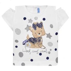 Mayoral Mädchen T-Shirt kurzarm mit süßem Hunde-Motiv, dunkelblau - 1.007db