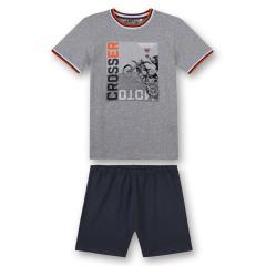 "Jungen Teens Schlafanzug kurz, grau ""Moto Crosser"" - 244460"