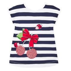 Mädchen Sommer Baby Kleid gestreift, dunkelblau - 1.943