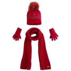 Mädchen 3 teiliges Winterset Schal, Mütze, Handschuhe Fellbommel Glitzer, rot - 10292
