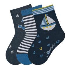 "Jungen Baby 3 Paar Söckchen Socken 3er-Pack ""Segelboot"", marineblau - 8322020"