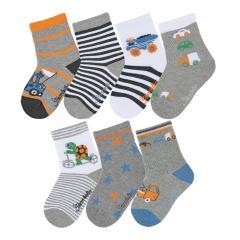 """Jungen Baby 7 Paar Söckchen Baumwoll-Socken 7er-Box """"Fahrzeuge"""", silbergrau mel. - 8322050"""