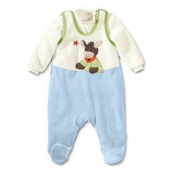 """Jungen Baby Strampler Set mit Pulli, hellblau weiß """"Emmi"""" - 73210"""